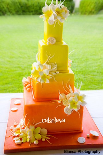 different wedding color schemes | sunset inspired wedding cake