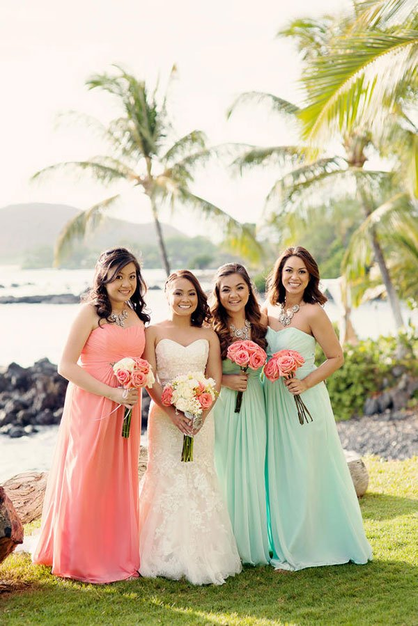 unique wedding color schemes | coral and mint bridal attire