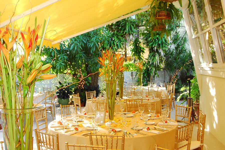 unique wedding color schemes | tangerine orange and yellow reception decor