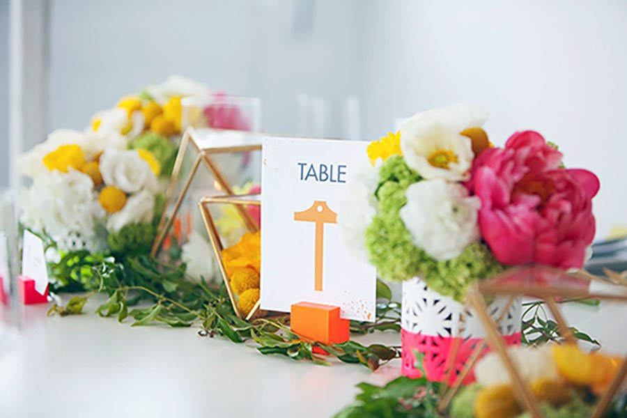 unique wedding color schemes | neon and neutral