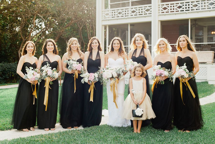 wedding color palette | black, pale green and white