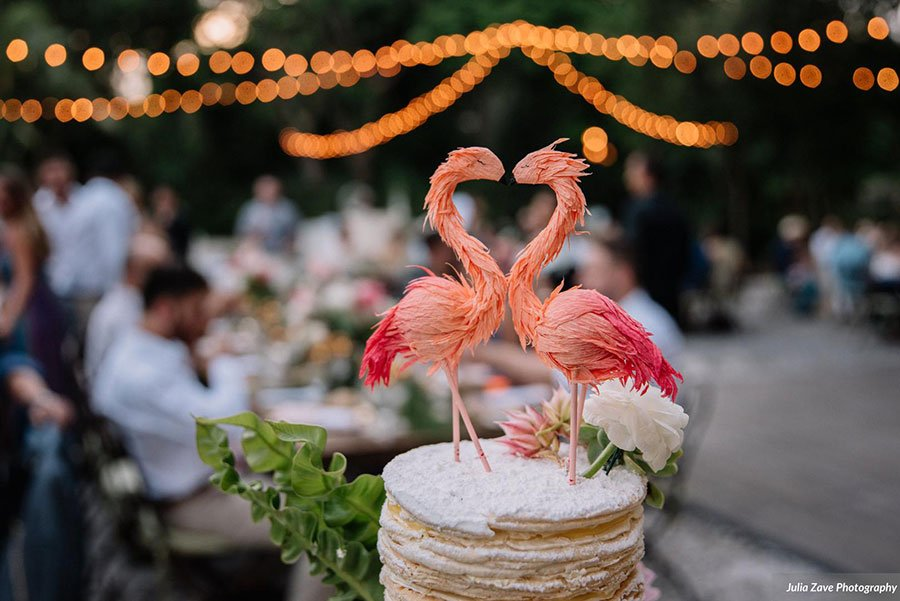 tropical flamingo wedding cake topper | deering estate wedding venue