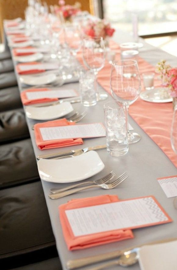 different wedding color schemes | Grey and coral table decor