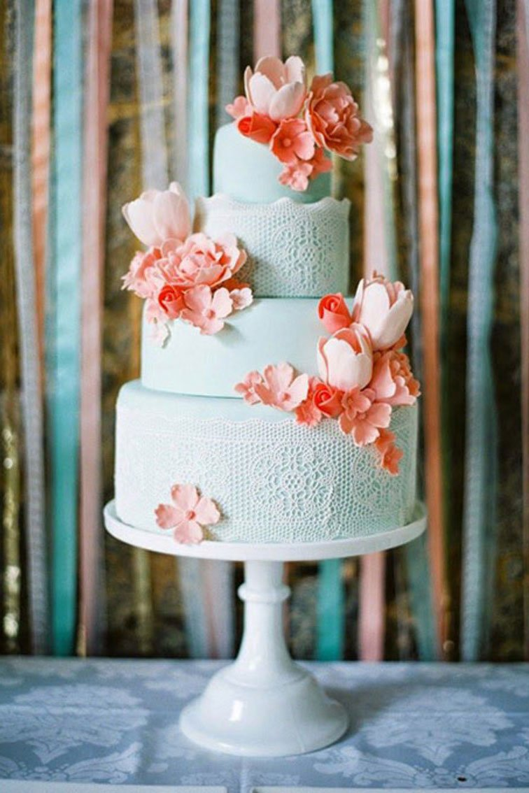 unique wedding color schemes | coral and mint wedding cake