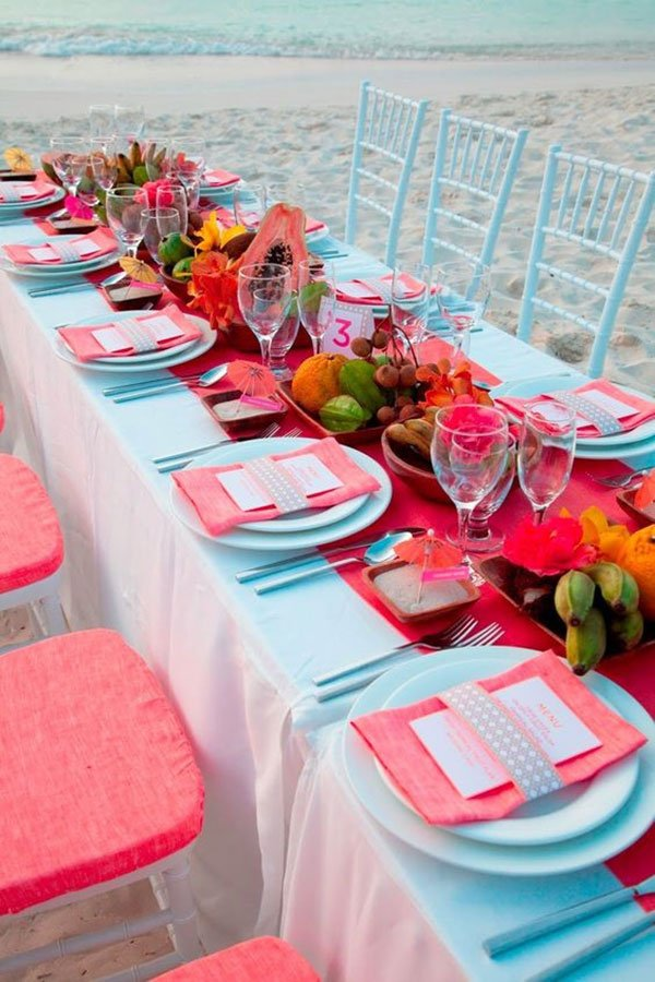 unique wedding color schemes | coral and turquoise table decor