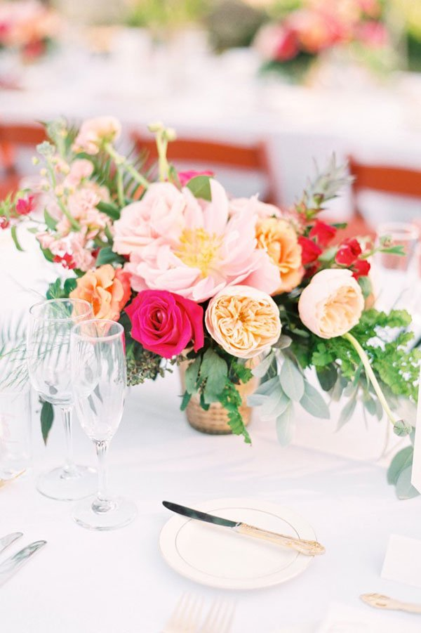 wedding color palette | coral floral centerpiece
