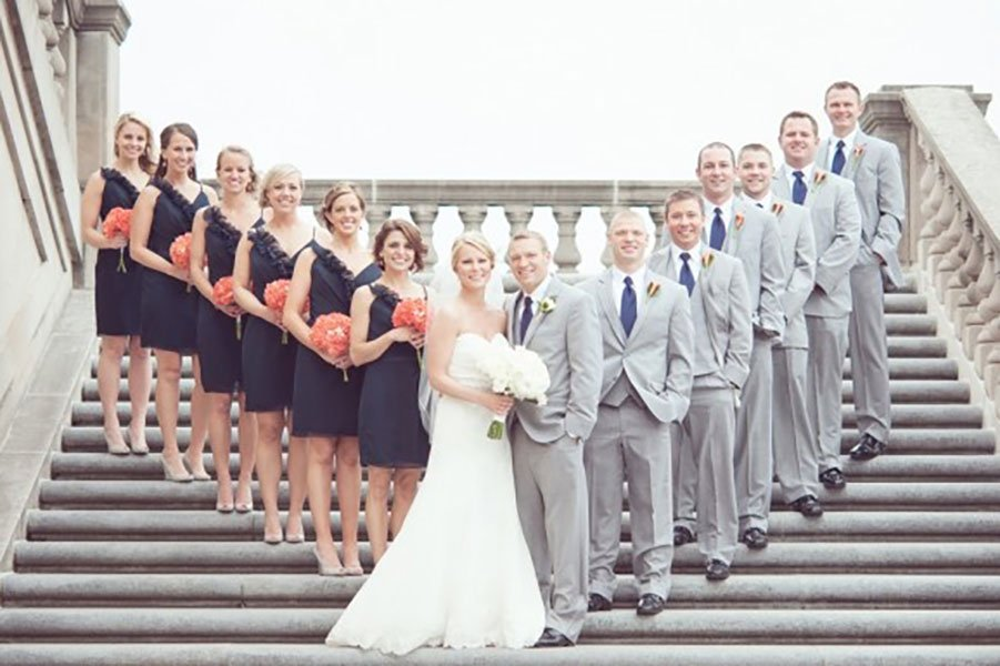 different wedding color schemes | Grey and coral bridal party attire