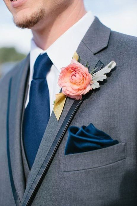 different wedding color schemes | Grey and coral groomsmen attire