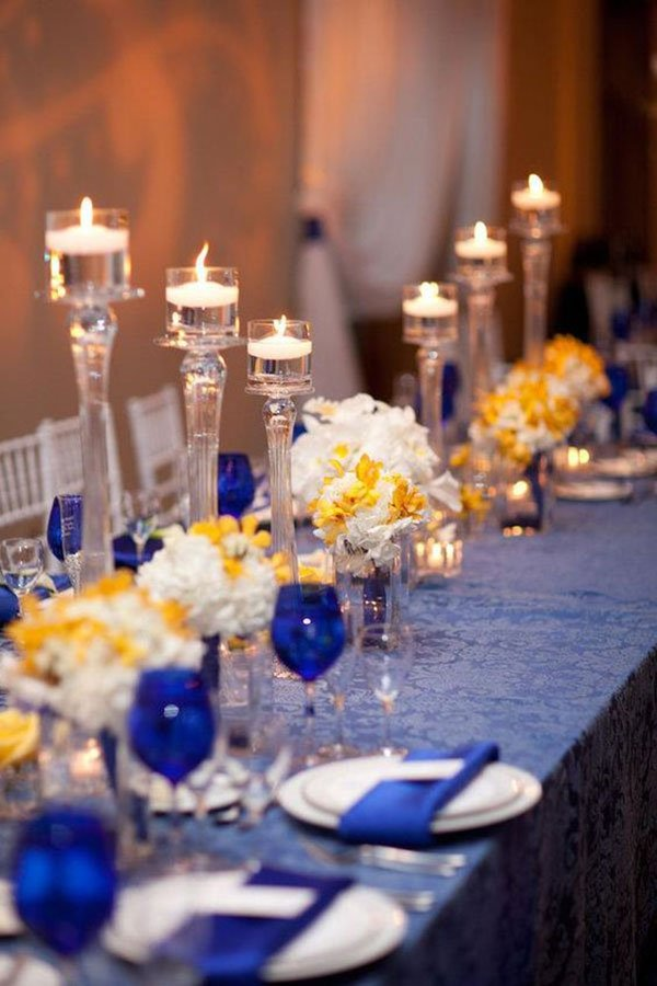 wedding color scheme | navy blue, yellow and white table decor