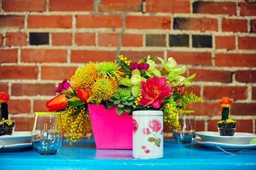 unique wedding color schemes | neon floral centerpiece