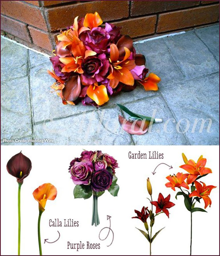 Different wedding color schemes | purple, orange and burgundy wedding flowers