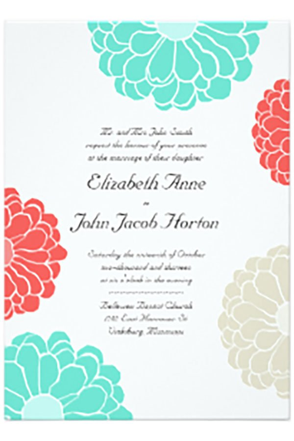 different wedding color schemes | coral and turquoise wedding invitation