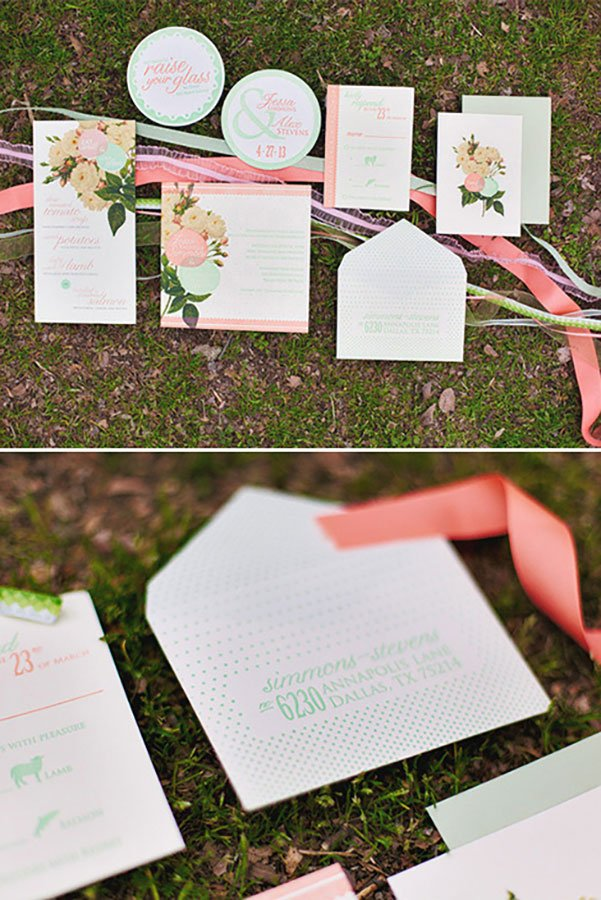 unique wedding color schemes | coral and mint wedding invitations