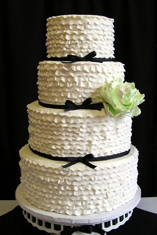 wedding color palette | black, pale green and white wedding cake