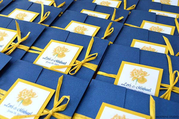 wedding color scheme | navy, yellow and white wedding invitations
