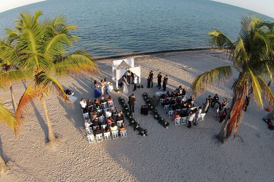 destination wedding trends | drone photography at south florida beach wedding