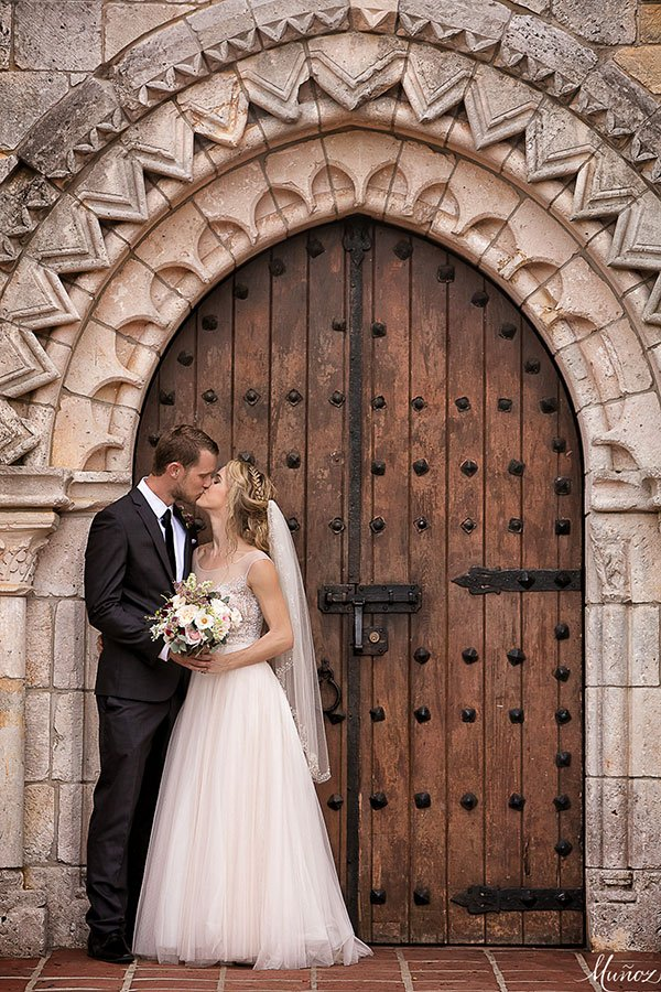 First Kiss | Wedding couple at Ancient Spanish Monastery