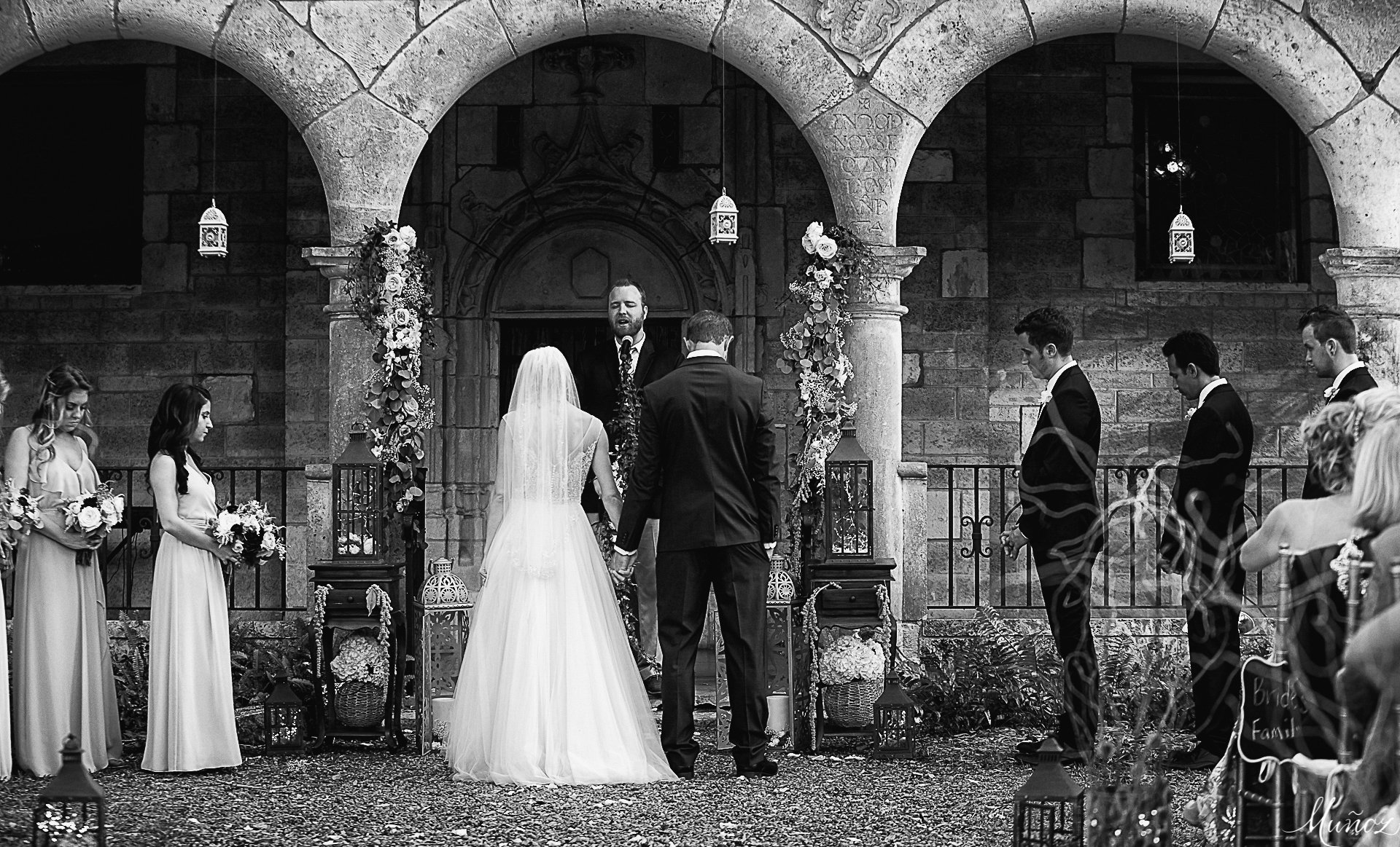 wedding ceremony in the courtyard of Ancient Spanish Monastery