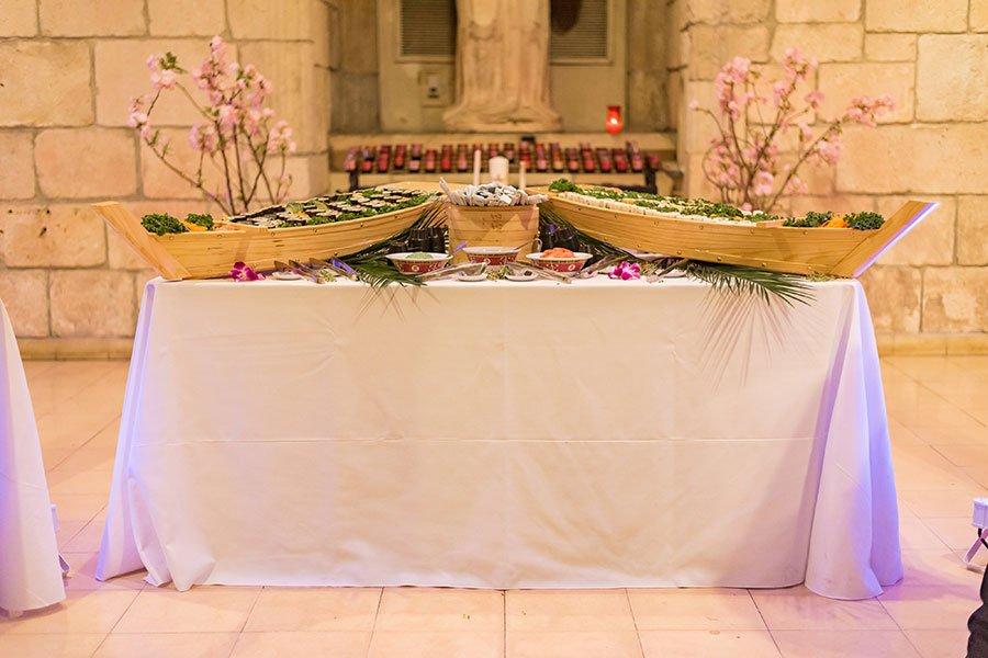 sushi | Ancient Spanish Monastery wedding reception set up