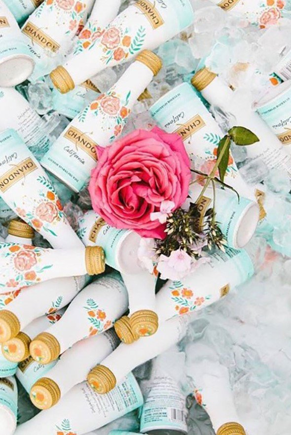 bridal shower beverages | mini champagne bottles