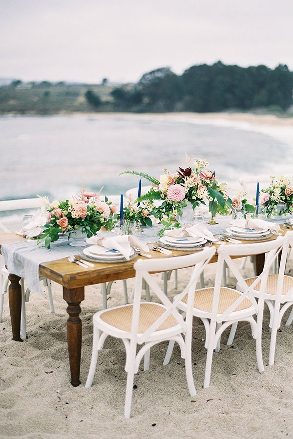 beach bridal shower theme | table setting