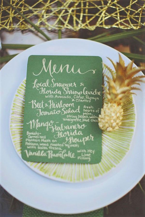 tropical wedding shower ideas | pineapple motif
