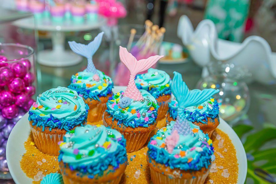 nautical wedding shower theme | mermaid cupcakes