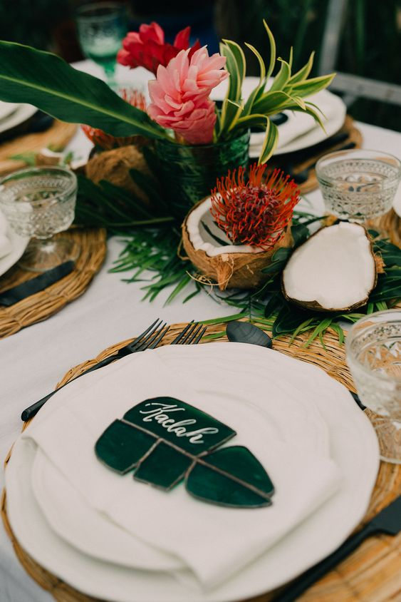 bridal shower themes | tropical place setting