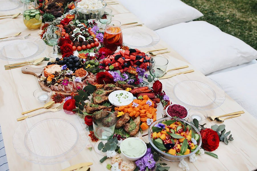 picnic theme wedding shower | grazing table