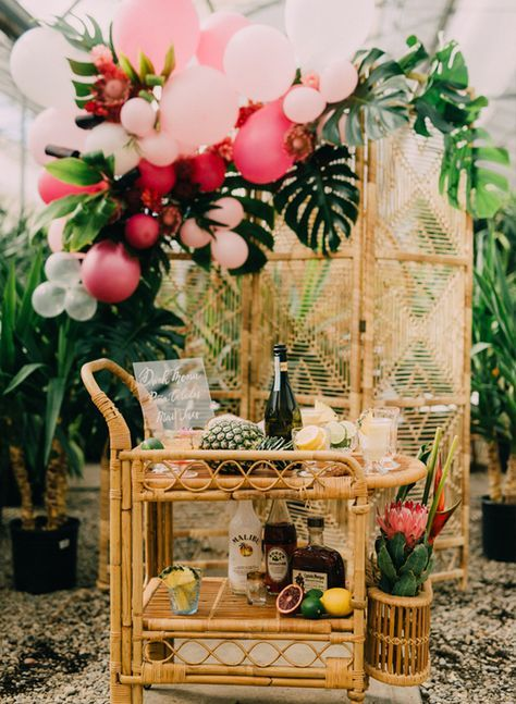 tropical wedding shower ideas | rattan beverage cart