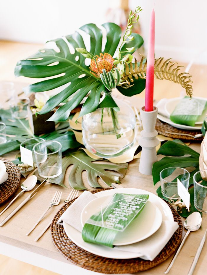 tropical wedding shower ideas | wicker chargers