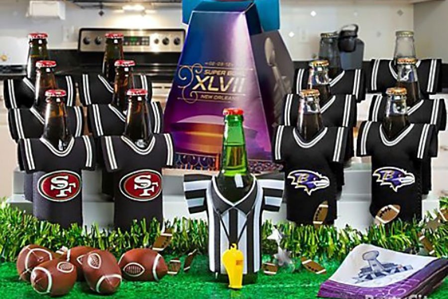 miami super bowl party decor | beer coozies