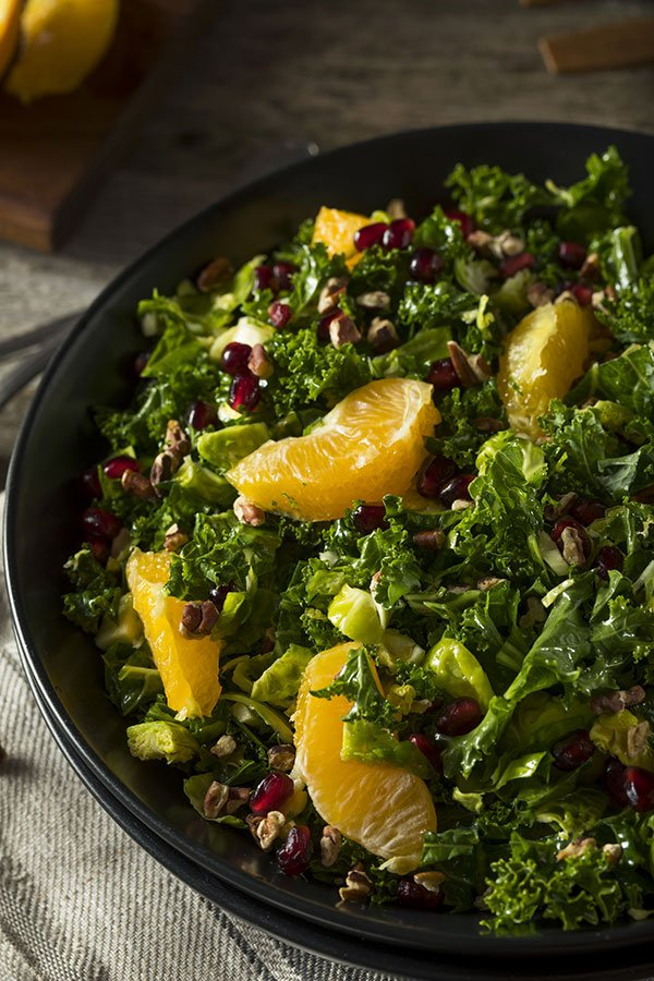holiday menu ideas buffet | kale salad with pomegranate seeds