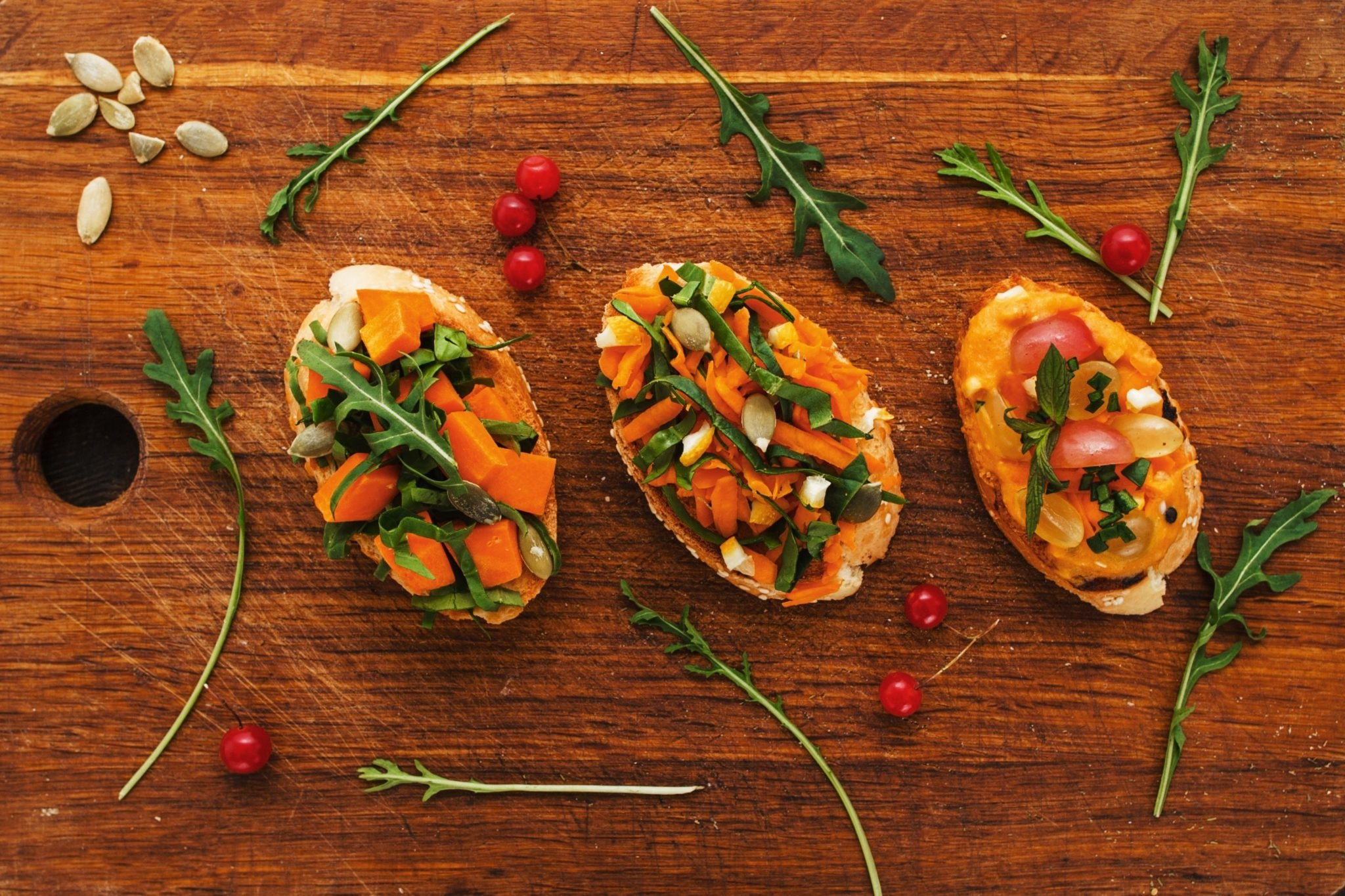 vegetarian menu | Bruschetta with pumpkin
