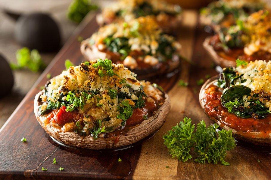 vegetarian menu | stuffed portabella mushroom